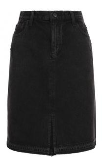Джинсовая юбка-миди с потертостями J Brand