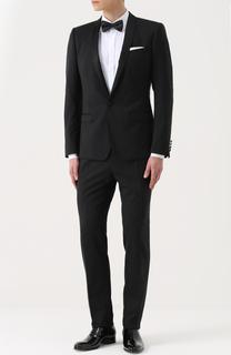 Шерстяной приталенный смокинг с шелковой отделкой Dolce & Gabbana