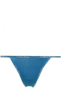Трусы-стринги с логотипом бренда Calvin Klein