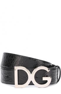 Ремень из кожи каймана с металлической пряжкой Dolce & Gabbana