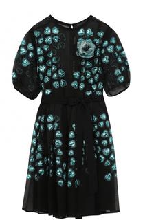 Приталенное шелковое мини-платье Elie Saab
