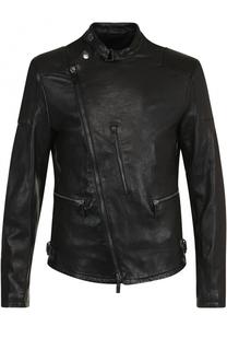 Кожаная куртка с косой молнией и воротником-стойкой Giorgio Armani