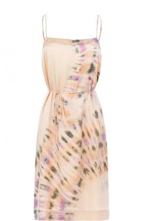Шелковое приталенное платье с принтом Raquel Allegra