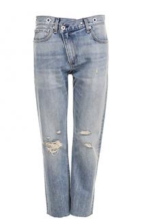 Укороченные джинсы прямого кроя с потертостями Rag&Bone Rag&;Bone