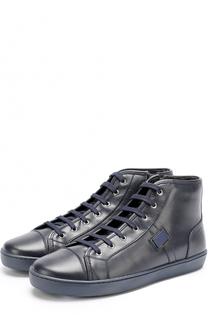 Утепленные кожаные кеды на шнуровке с молнией Dolce & Gabbana