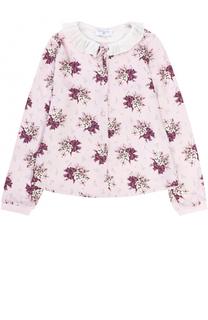 Блуза с принтом и плиссированным воротником Monnalisa