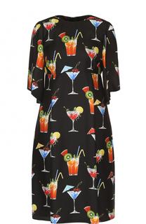 Шелковое платье с завышенной талией и принтом Dolce & Gabbana