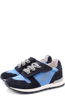 Текстильные кроссовки с застежками велькро и декоративной шнуровкой Giorgio Armani