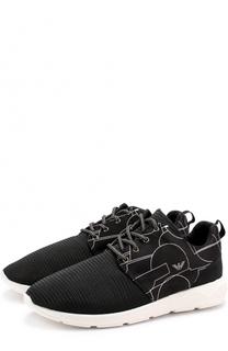 Текстильные кроссовки с принтом Giorgio Armani
