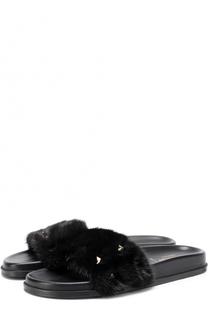 Кожаные шлепанцы Lock с отделкой из меха норки Valentino
