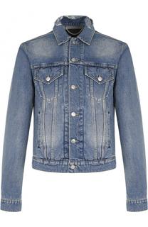Джинсовая куртка на пуговицах с декоративными потертостями на воротнике Balenciaga