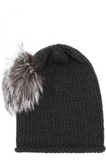 Вязаная шапка из кашемира с меховым помпоном Inverni
