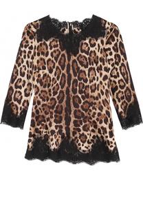 Шелковый топ с леопардовым принтом и кружевной отделкой Dolce & Gabbana