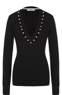 Приталенный пуловер с декоративной отделкой Givenchy
