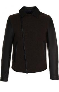 Кожаная куртка с косой молнией и шерстяной отделкой Giorgio Armani