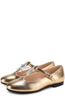 Металлизированные туфли из кожи с аппликацией и ремешком Il Gufo
