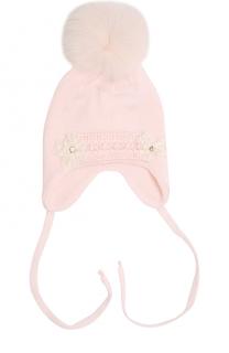 Шерстяная шапка с меховым помпоном и вышивкой с кристаллами Il Trenino
