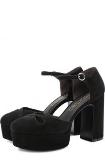 Замшевые туфли на устойчивом каблуке и платформе Marc Jacobs