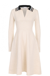 Приталенное платье-миди из шерсти Lanvin