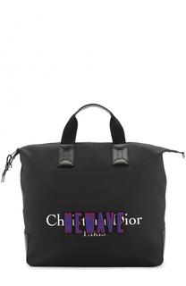 Текстильная сумка-шоппер с кожаной отделкой Dior