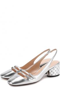 Туфли из металлизированной кожи на каблуке с декором Marc Jacobs