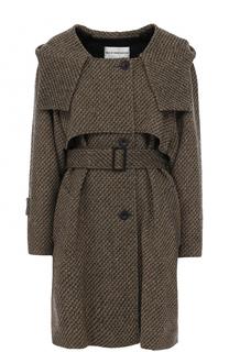 Однобортное пальто с поясом и капюшоном Walk of Shame