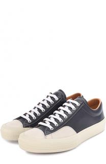 Кожаные кеды на шнуровке с контрастной отделкой Dries Van Noten