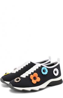 Текстильные кроссовки с аппликациями Fendi