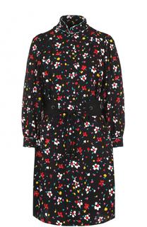 Шелковое мини-платье с принтом и поясом Marc Jacobs