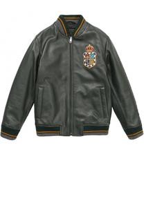 Кожаный бомбер с вышивкой Dolce & Gabbana