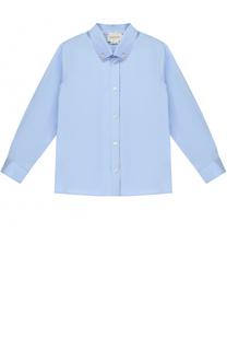Хлопковая рубашка с воротником button down Gucci