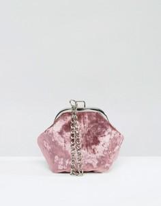 Бархатный клатч с ручкой-цепочкой Missguided - Розовый