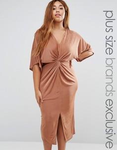 Платье миди с перекрученной драпировкой и рукавами-кимоно Missguided Plus - Коричневый