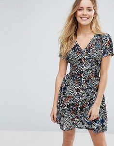 Короткое приталенное платье с принтом Jasmine - Темно-синий