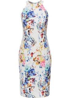 Платье с цветочным принтом (белый/синий/розовый) Bonprix
