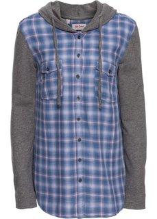 9dd962f2aa5 Клетчатая блуза с трикотажными рукавами и капюшоном (розовый синий в клетку)  Bonprix