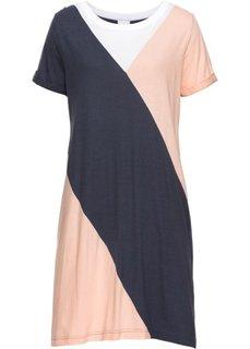 Платье с металлическим отливом, 2 в 1 (белый/нежный персиковый/темно-синий) Bonprix