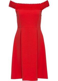 Платье с вырезом-кармен (ярко-красный) Bonprix