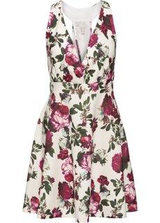 Платье с цветочным принтом (кремовый/красный в цветочек) Bonprix