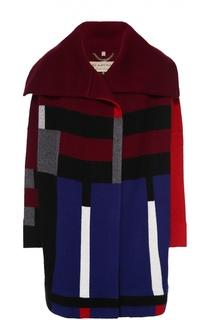 Шерстяное пальто прямого кроя с контрастным принтом Burberry