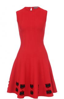 Приталенное мини-платье с декорированным подолом Alexander McQueen