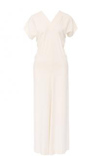 Приталенное платье-миди с V-образным вырезом Helmut Lang