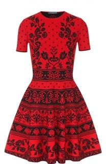 Приталенное мини-платье с коротким рукавом и контрастным принтом Alexander McQueen