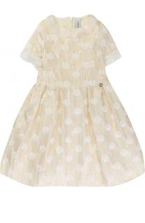 Платье-миди с оборками и металлизированной отделкой Simonetta