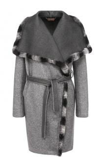Кашемировое пальто с поясом и меховой отделкой Colombo