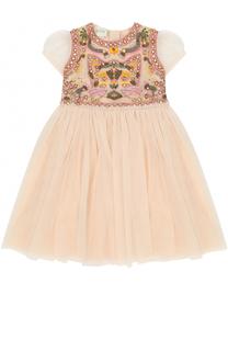Многослойное приталенное платье с вышивкой и кристаллами Gucci