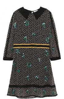 Шелковое мини-платье с принтом Coach