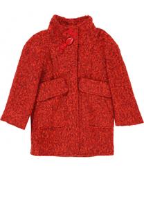 Пальто прямого кроя с воротником стойкой и объемными карманами I Pinco Pallino