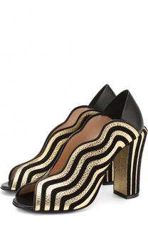 Комбинированные туфли с фигурными вырезами Fendi