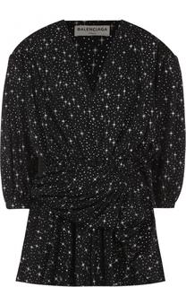 Мини-платье с принтом в виде звезд и драпировкой Balenciaga